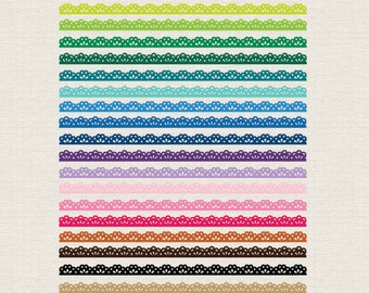BUY 2 GET 1 FREE 50 Colorful Lace Ribbons Clip Art - Lace Borders clipart - instant download - Personal and Commercial Use