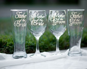 Mother of the Bride Glass, Mother of the Groom Glass, Father of the Bride Glass and Father of the Groom Glass, Hand Engraved Set of 4