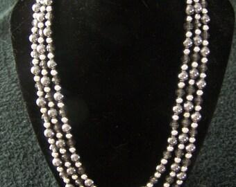 Triple strand necklace- Grey Smoke & Silver color