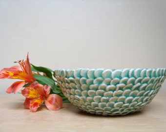 Ceramic Bowl, handmade, nature inspired, leaf,petal, delicate, decorative, home decor, celedon/green/blue, homeware, unique,glazed stoneware