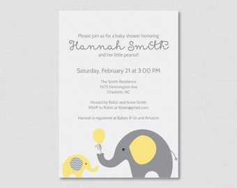 Elephant Baby Shower Invitation Printable Invite - Elephant Baby Shower Invites in Yellow and Gray and Subtle Chevron Baby - 0024-Y