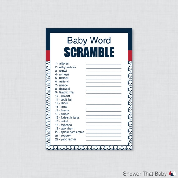 nautical baby shower word scramble game in navy and red printable