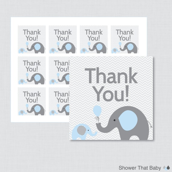 Printable Elephant Baby Shower Favor Tags Thank You Tag For