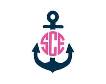 Anchor Monogram Vinyl Decal Icon - 2 Color - Choose from 14 colors in various sizes and fonts