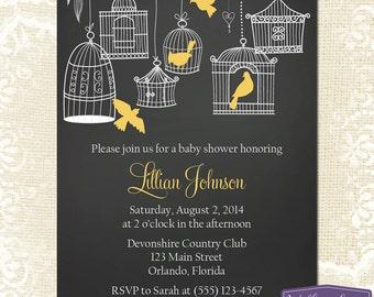 Yellow Baby Shower Invitation - Hanging Bird Cages Baby Shower Invite - Girl Baby Shower Invite - Chalkboard Baby Shower - 1161 PRINTABLE