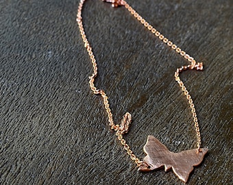 Small Copper Butterfly Necklace, Simple Necklace