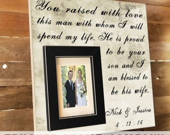 Parents of the Groom Gift, Mother of the Groom, Father of the Groom, Parents Thank You Gift, Wedding Personalized Picture Frame, In Law Gift