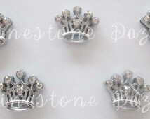Rhinestone Crown 8mm Slide Charms, Princess Crown Slide Charms, Qty of 1pc, 5pc, 10pc