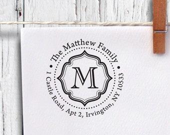 Custom Round Address Stamp, Self Inking Stamp, Monogram Stamp, Return Address Stamp, Personalized Stamp (R37)