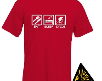 Eat Sleep Cycle T-Shirt Joke Funny Tshirt Tee Shirt Gift Cyclist Cycling Bicycle