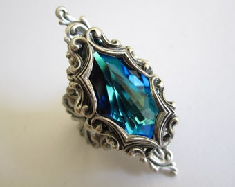 Brienne - Swarovski ring - Filigree ring - Fantasy jewelry - Bridal Jewelry - Art nouveau jewelry - Game of Thrones Jewelry - Arya Stark