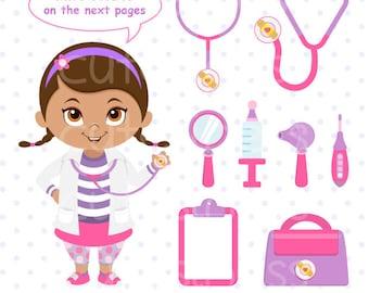 Doctor Clipart, Doctor Clip Art, Little Girl Doctor Clipart, Doc McStuffins Clipart