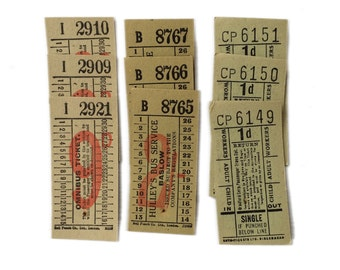 Vintage London and British transport tickets. Orche Ticket collection with 9 tickets. (TLB1)