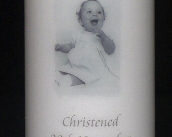 Personalised Christening or Baptism Photo candle