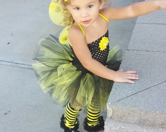 Complete Bumblebee Tutu Dress headband Wings & Legwarmers complete Costume,smash cake outfit,Birthday,  Halloween,photo prop,infant, baby,