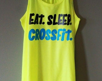 Eat. Sleep. Crossfit. Tank - Neon Yellow - Black & Neon Blue Text