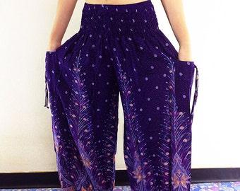 Harem Pants Women Yoga Pants Aladdin Pants Maxi Pants Boho Pants Gypsy Pants Rayon Genie Pant Hippy Pants Trouser Violet Purple (TS40)