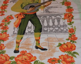 Unique and Unused Italian Made 1970s Towel with Lute Player