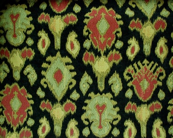 Kavo Tribal Ikat Upholstery Fabric - Ikat Fabric By The Yard - Ikat Black background - Upholstery Fabric By The Yard               Width: 57