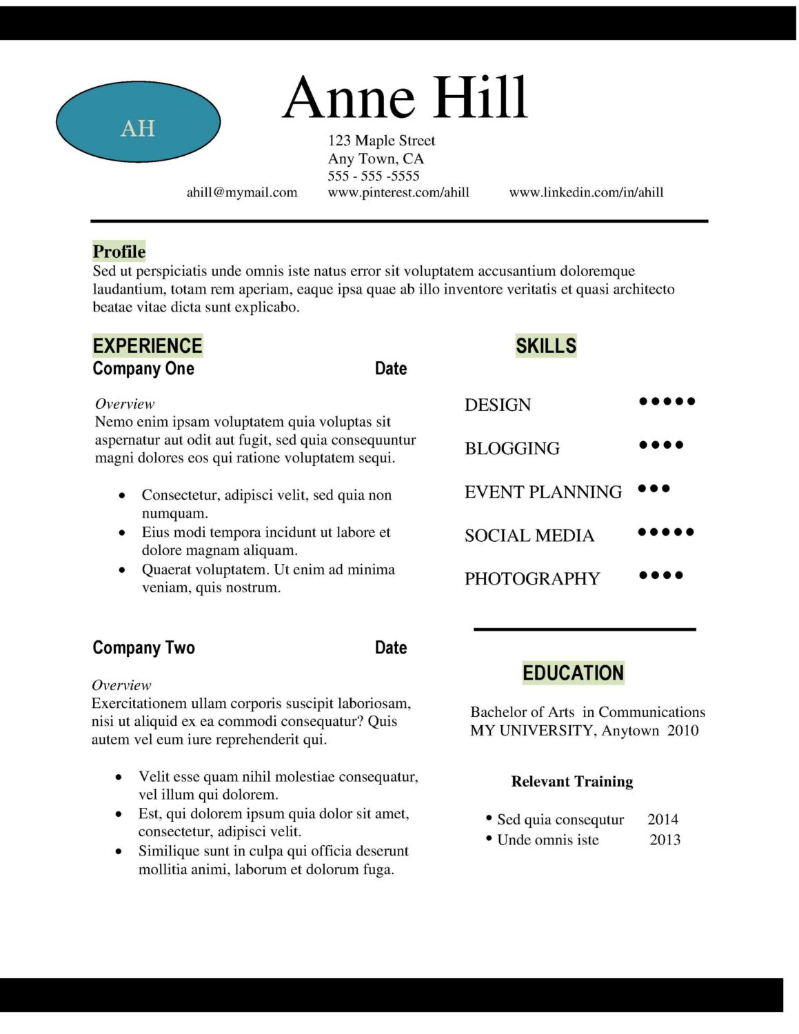 Modern Resume Template Word - Viewing Gallery