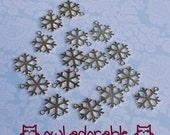 Snowflake, Silver Plastic Pendant, 50 pcs