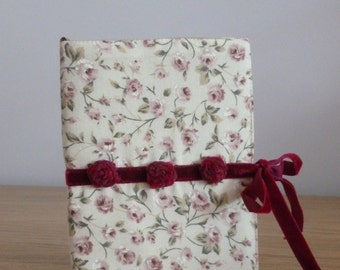 Handmade A6 fabric covered notebook with ribbon tie and bookmark