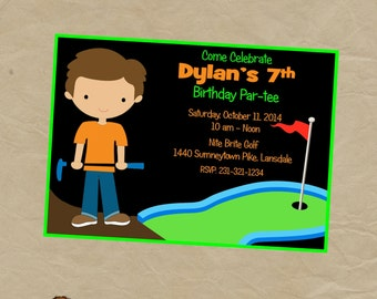 GLOW in the DARK Golf Putt Putt  Birthday Party Invitation - Digital or Printed