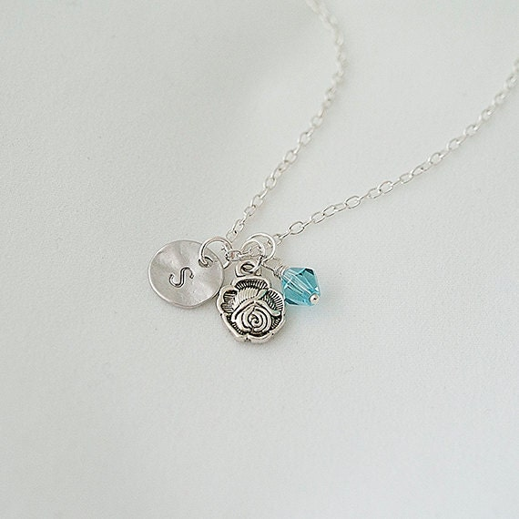 Birthstone Necklace, Personalized Initial Silver, Rose, Flower Nnecklace, Swarovski Crystal Necklace