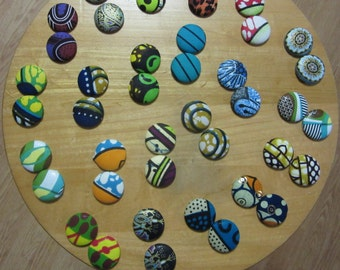 BUY 3, get 1 FREE - Large African Print Button Earrings (multiple prints)