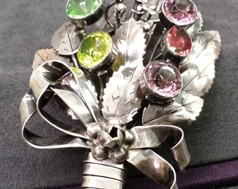 Hobé Sterling Silver Brooch with Paste Colored Gemstones in a Lovely Bouquet. Free Shipping!