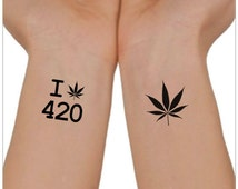 Temporary Tattoo 420 Marijuana Cannabis Waterproof Ultra Thin Realistic Fake Tattoos