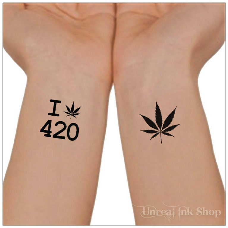 Temporary Tattoo 420 Marijuana Cannabis Waterproof Ultra Thin