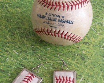 Baseball Earrings- Glass Back- Classic- Square 1 inch