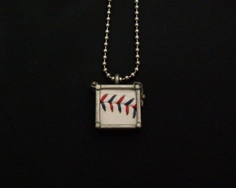 Baseball Necklace- Red/Blue Stitches Limited Edition- Glass Back- Square 3/4 inch