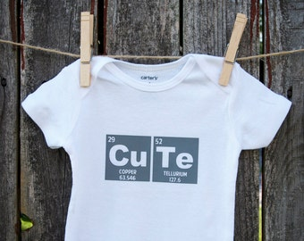 "Cute Periodic Table Bodysuit (""CU"" Copper + ""TE"" Tellurium)"