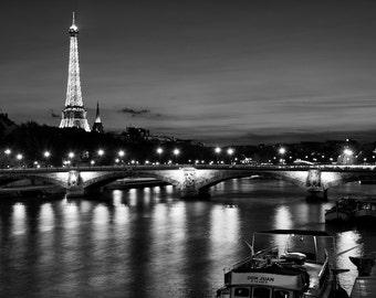Paris black and white photography, Seine at night, Eiffel Tower, Paris photography, black and white photo, Paris decor, fine art print