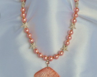 Glass Pearls, Starfish and Shell Necklace - Beach Jewelry (BD-582)