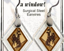 """Earrings """"Wyoming Bucking Horse & Rider(TM) in Brown"""" from rescued, repurposed window glass~Licensed Product"""
