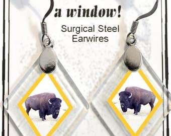 "Earrings ""Buffalo"" from rescued, repurposed window glass~Lightening landfills one tiny glass diamond at a time!"