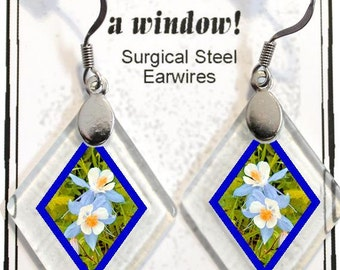 "Earrings ""Columbines"" from rescued, repurposed window glass~Lightening landfills one tiny glass diamond at a time!"