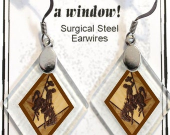 "Earrings ""Wyoming Bucking Horse & Rider(TM) in Brown"" from rescued, repurposed window glass~Licensed Product"