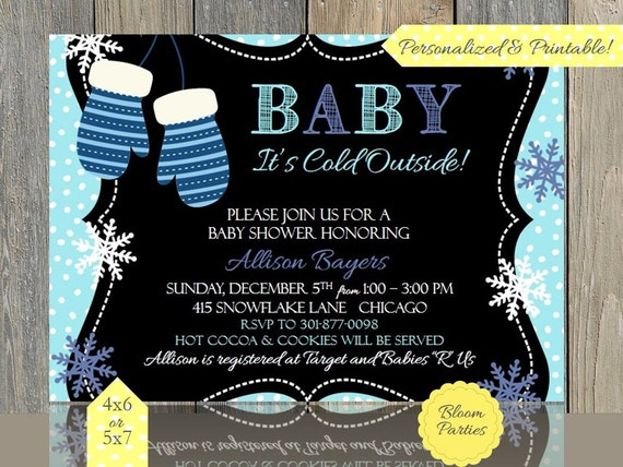 cold outside baby shower invitation blue mittens holiday baby shower