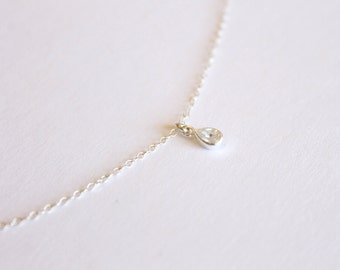 Tiny Crystal Necklace - Sterling Silver Necklace - Layering Necklace - Cubic Zirconia CZ - Delicate Thin Bridesmaid Necklace - Clear Crystal