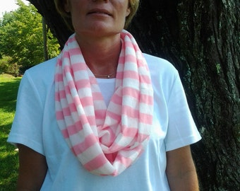 SALE-Pink and White Stripe-Infinity Scarf - SC203