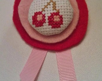 Gorgeous hand sewn cross stitch cherry andn felt brooch - red and pink