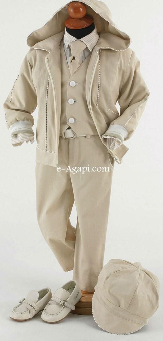 7 Pcs Greek Baptism Suit Baby Boy Baptism Outfit Beige