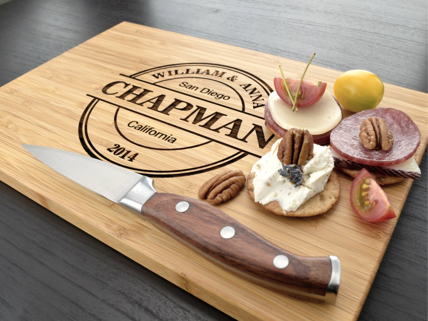 Monogrammed Wedding Gift: Engraved Cutting Board Personalized Wedding Gift By