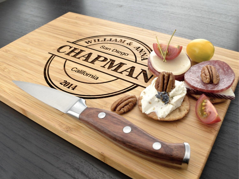 Wedding Gift Cutting Board: Engraved Cutting Board Personalized Wedding Gift By
