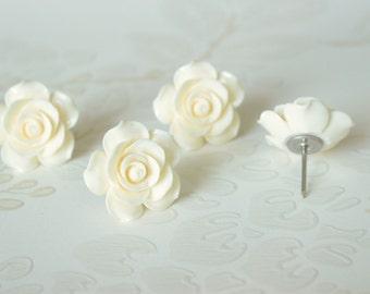 Large Eggshell Ivory Rose Decorative Thumb Tacks Wedding