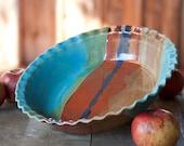 Pie Dish in Turquoise Trail glaze pattern - hand-thrown stoneware